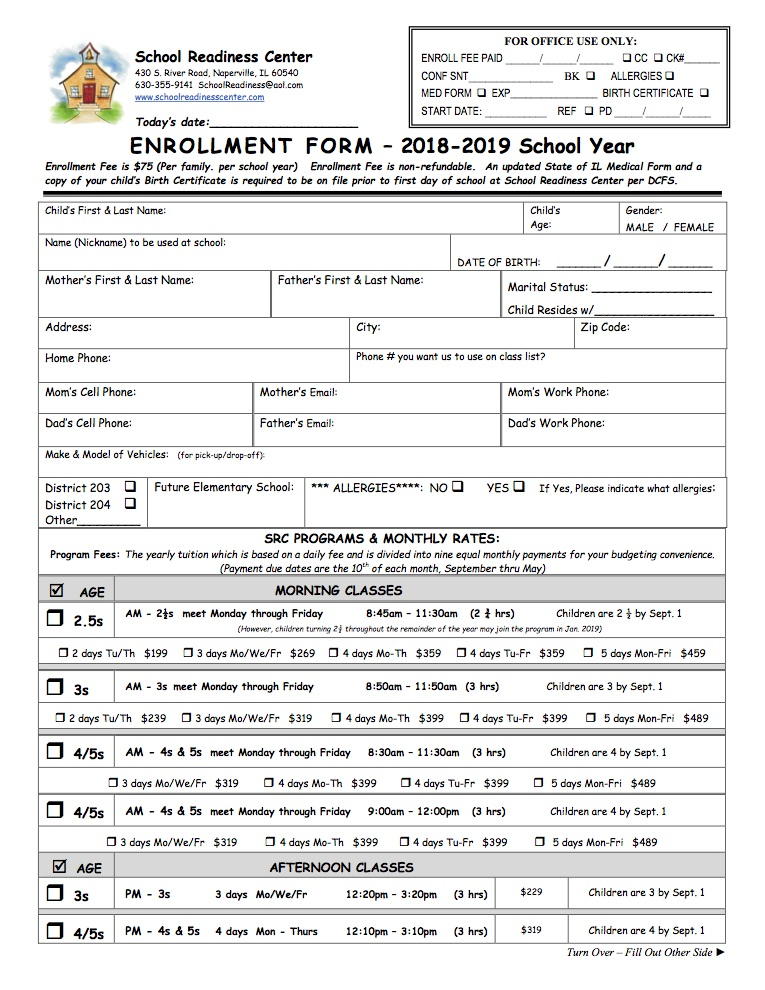 Enrollment Form  School Readiness Center